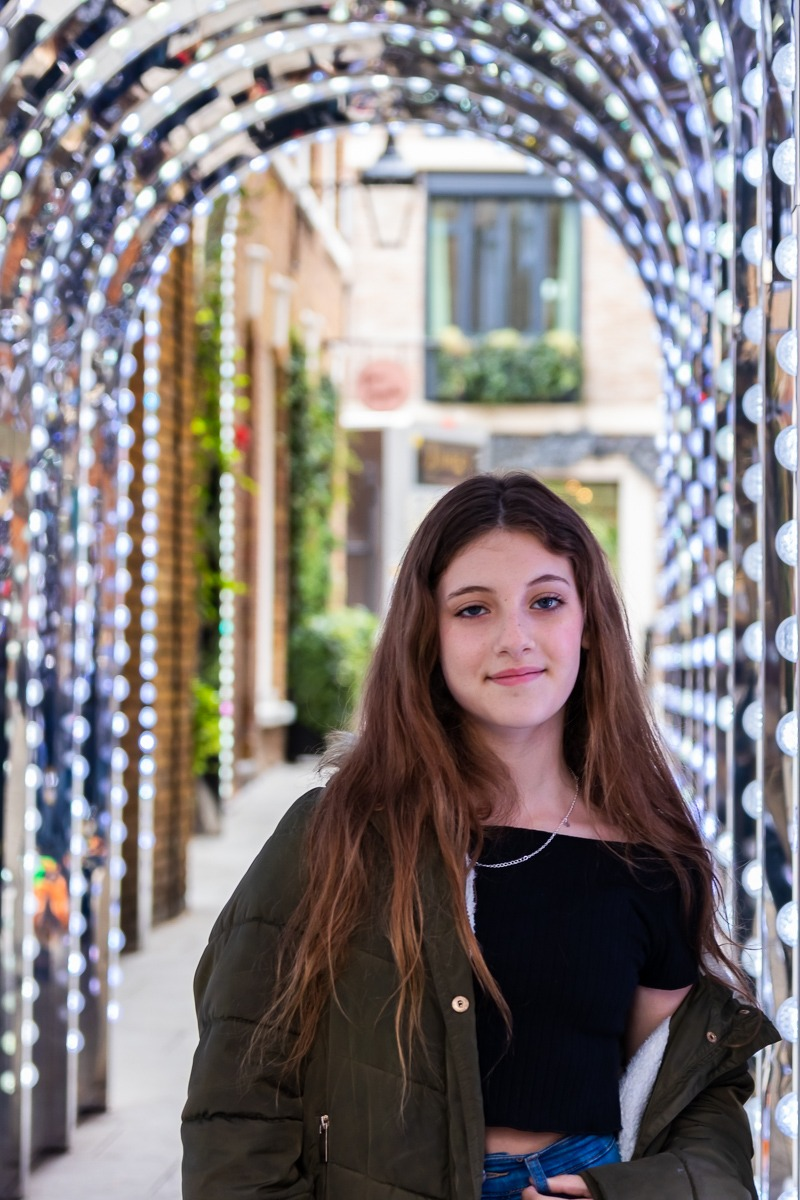 Bat Mitzva Photoshoot - Young girl portrait in the light tunnel in Covent Garden London
