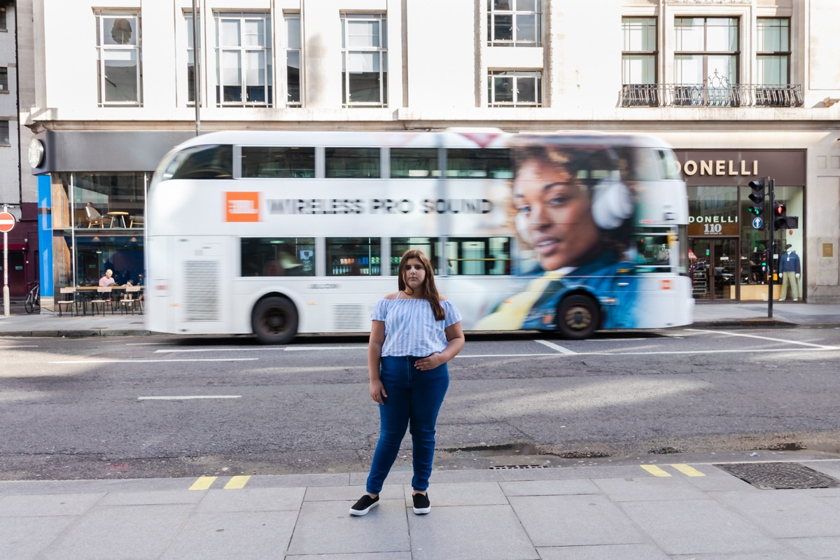 Bat Mitzva Photoshoot - Young girl in front of London bus