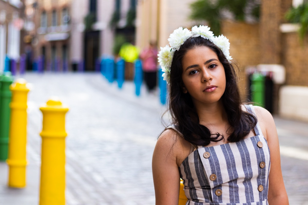 Bat Mitzva Photoshoot - Young girl portrait in colourful street in Covent Garden London